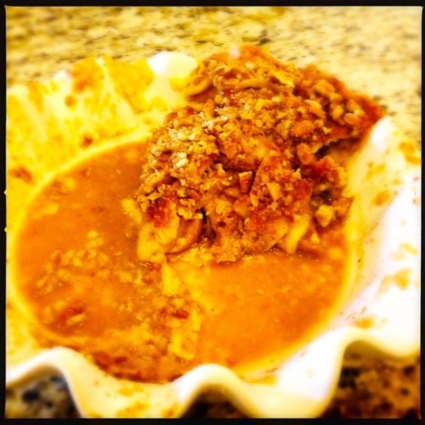 The last piece of cinnamon apple caramel pecan pie