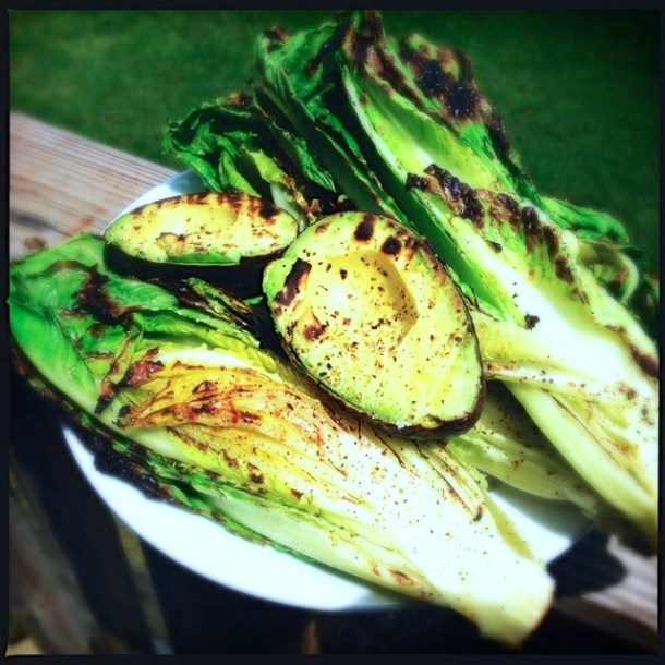 Grilled lettuce and avocado