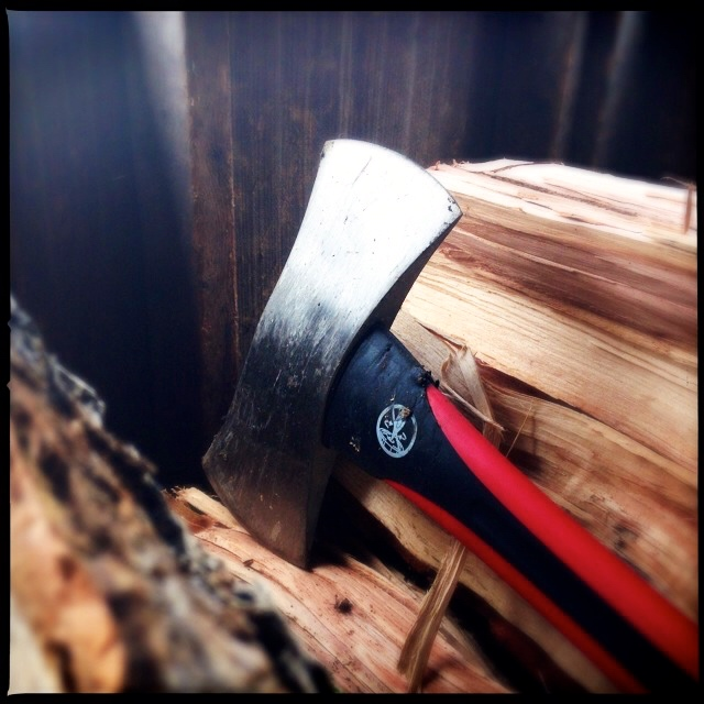 Axe and pecan wood
