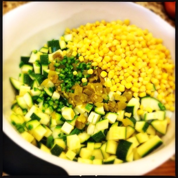 Chopped vegetables for enchiladas
