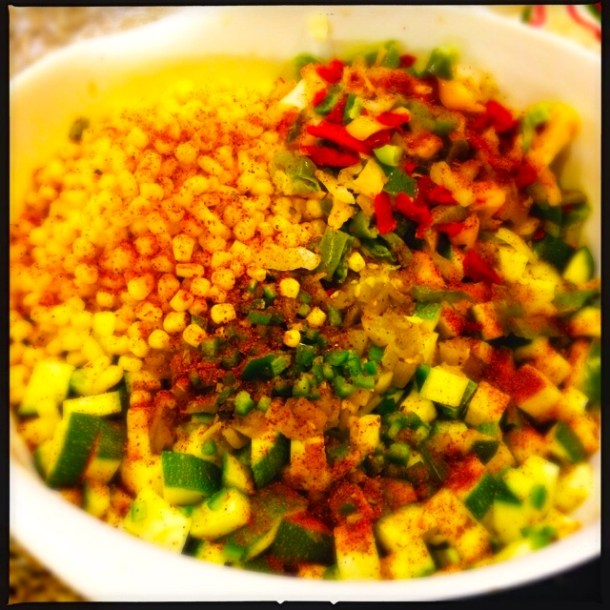 Chopped seasoned vegetables for enchiladas