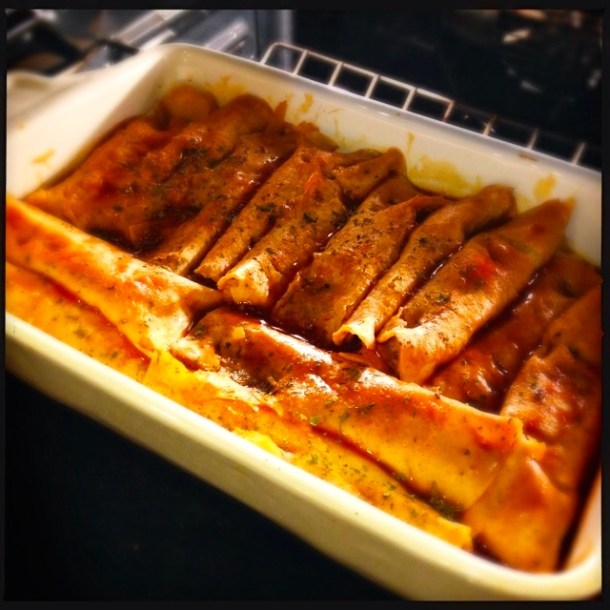 Baking enchiladas
