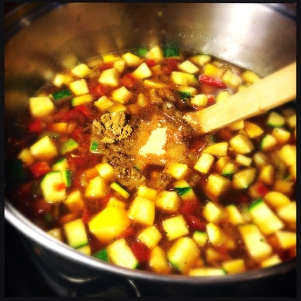Add spices to pot