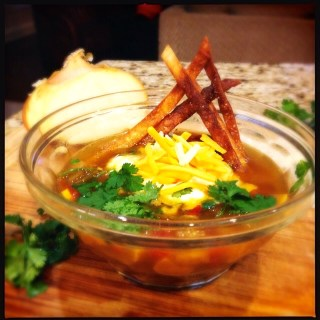 Tortilla soup with fried tortilla strips