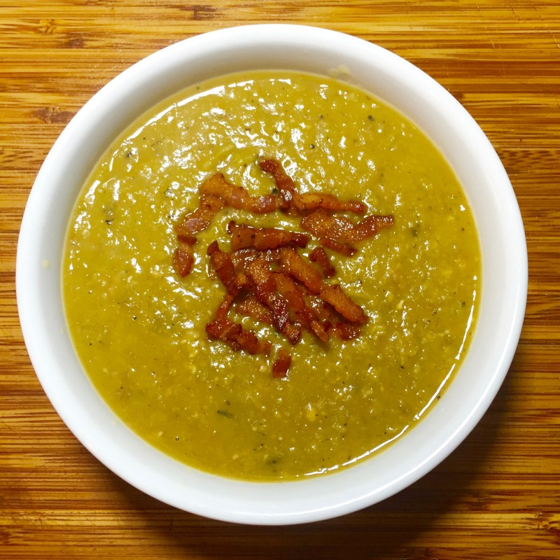 Split Pea Soup with Bacon, Ham and Caramelized Onions