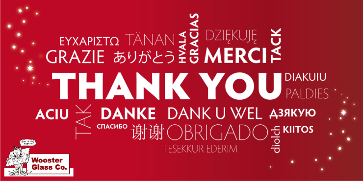 image with thank you written in several languages with wooster glass logo