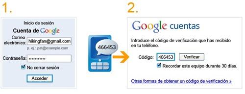 Seguridad en cuentas Google con configuración en dos pasos