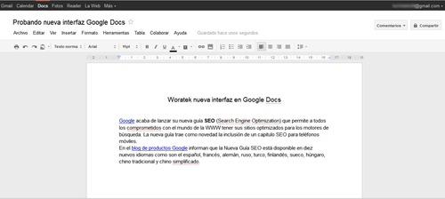 Nueva vista Google Docs 2011
