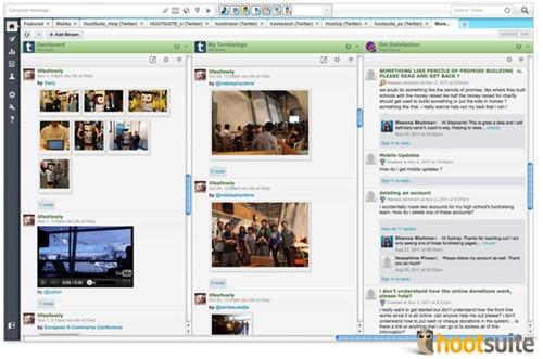 HootSuite con YouTube, Flickr, Tumblr y Get Satisfaction 2