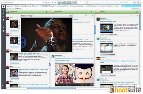 HootSuite con YouTube, Flickr, Tumblr y Get Satisfaction