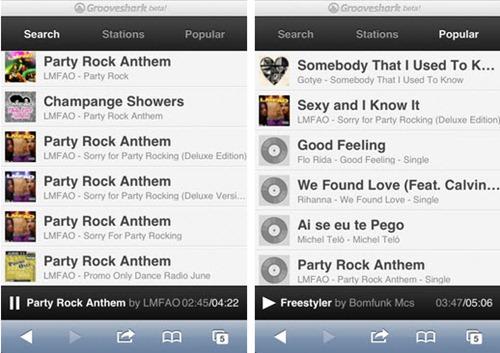 Grooveshark móvil