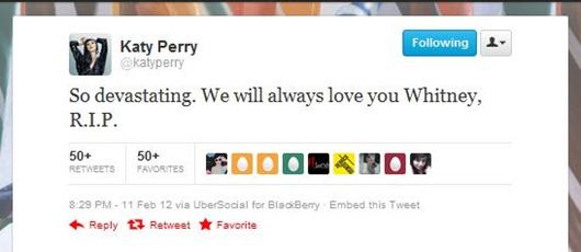 whitney Houston 1 mensaje Katy Perry