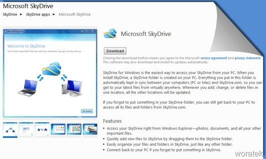 Microsoft skydrive en windows