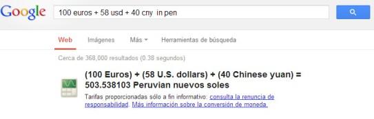 Conversor de divisas multiples con Google