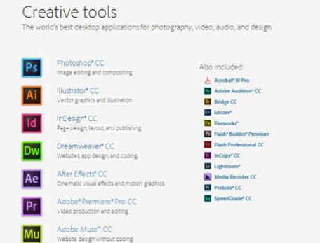 Adobe creative cloud alquilar aplicaciones