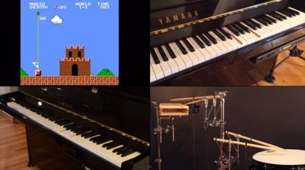 Sonidos de mario bros con piano y  banda de música