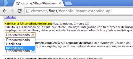Google Chrome nueva pestaña desactivada