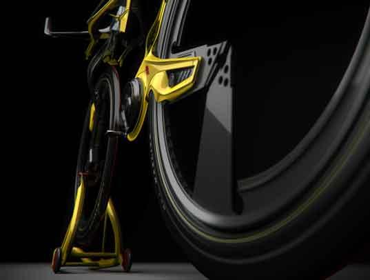 Detalle de llantas de bicicleta hibrida