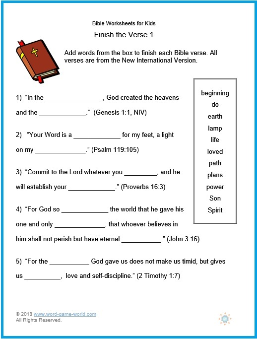 Kjv Bible Worksheets
