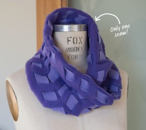 """A """"woven"""" idea (would not implement as an infinity scarf). A thin piece of fleece could also be threaded through a scarf for a rushed effect"""