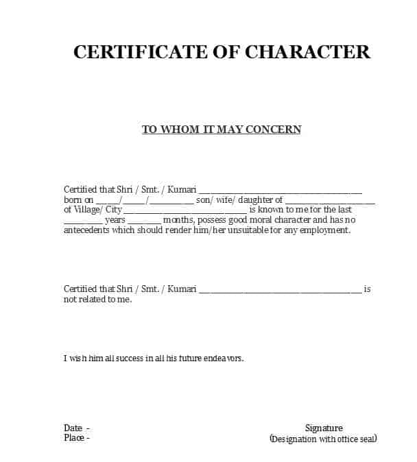 4 character certificates word excel templates for Certificate of good moral character template