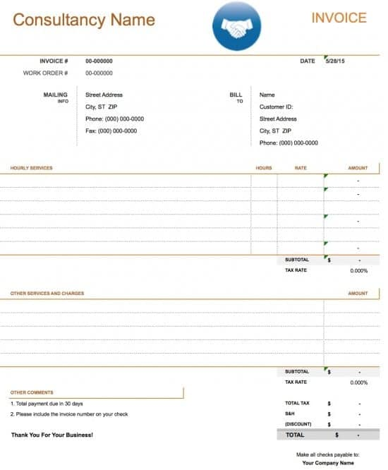 4 Consultant Invoice Templates Word Excel Templates