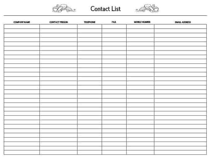 Supplier Contact List Template Archives  Word Excel Templates