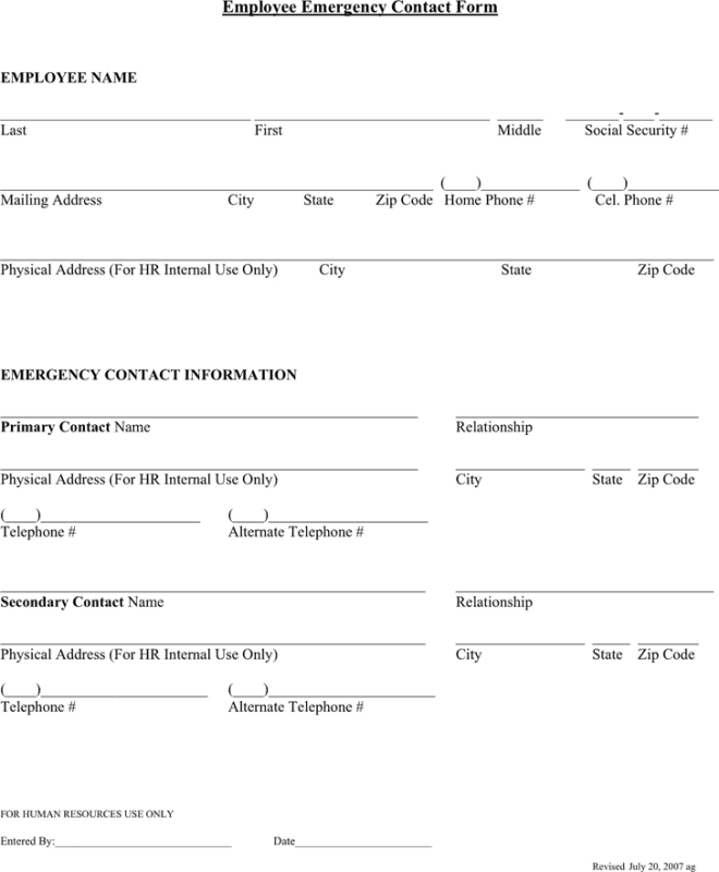 Emergency Contact Forms | 5 Employee Emergency Contact Forms Word Excel Templates