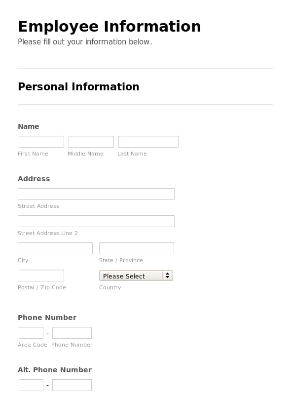 Employee Emergency Contact Form. |Employee New Hire Checklist ...