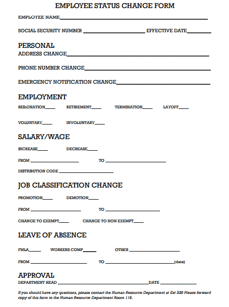 6 Employee Status Change Forms Word Excel Templates