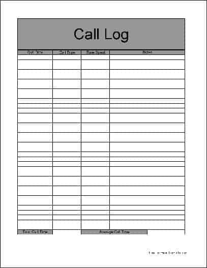 call log report template - thevictorianparlor.co
