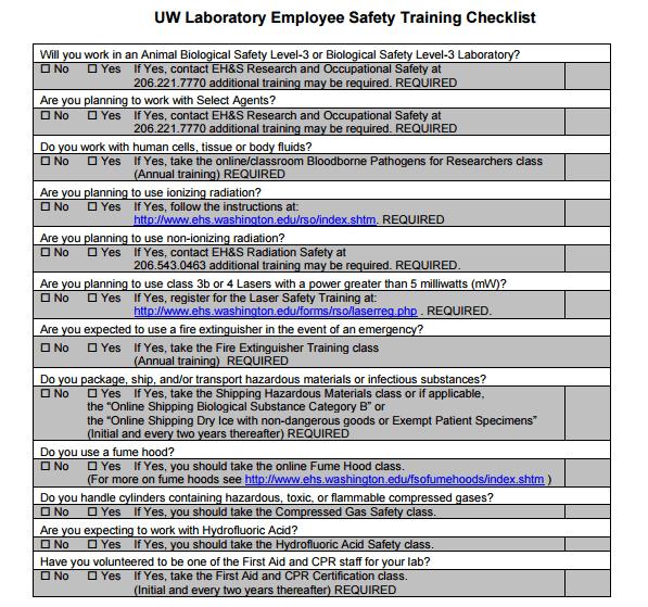 5  training checklist templates