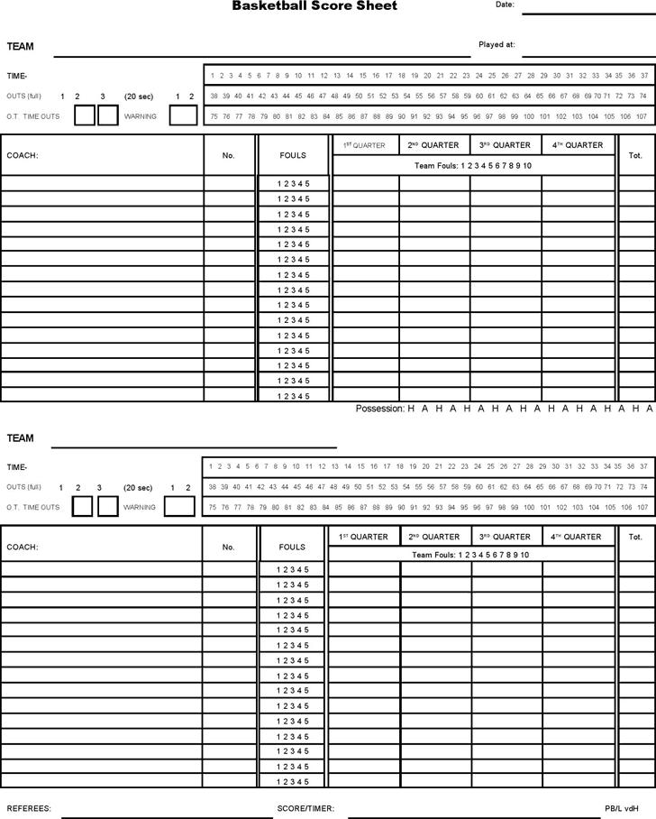 Basketball Score Sheet Template - Edit, Fill, Sign Online ...