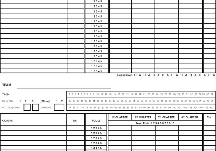 Printable Basketball Score Sheet Archives Word Excel Templates – Basketball Score Sheet Template