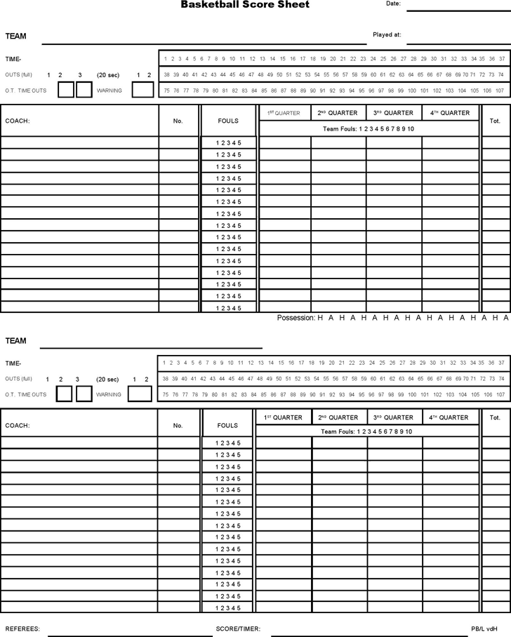 5 Basketball Score Sheet Templates Word Excel Templates