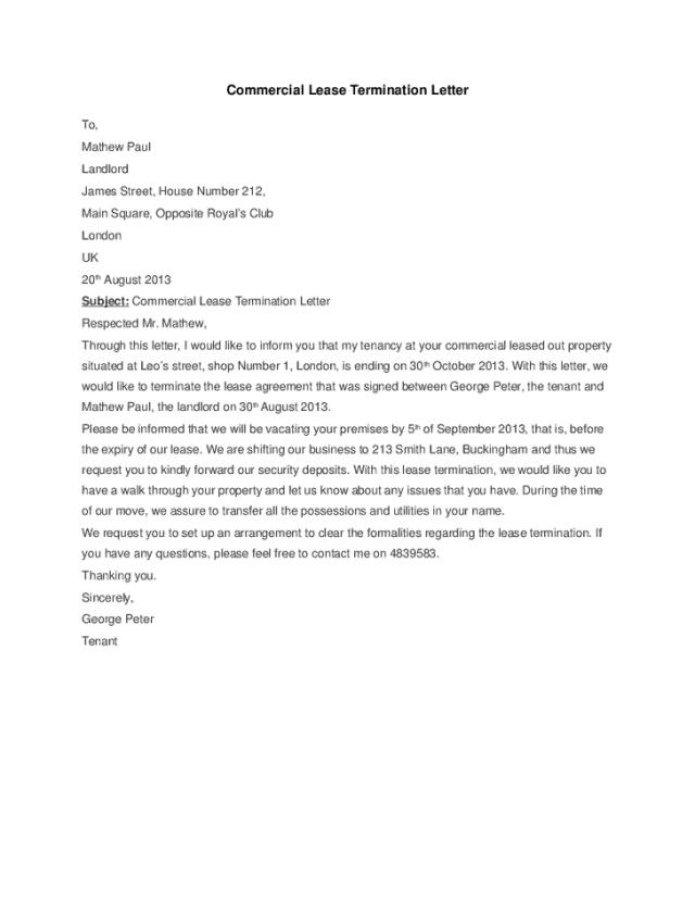 5 Commercial Lease Termination Letter