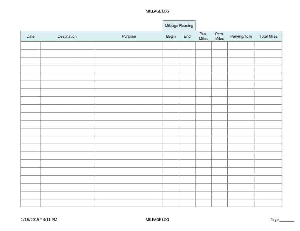 Irs Auto Expense Worksheet