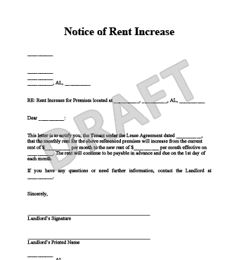 rent increase form letter
