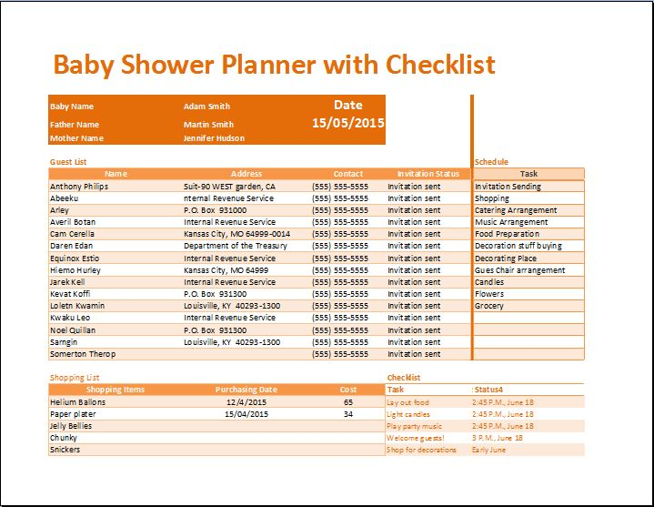 Baby Shower List Template. . guest printable free worksheet. photo ...