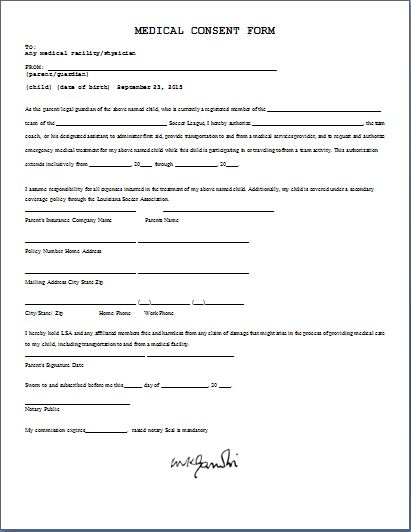 Child Consent Form Template child travel consent form create a – Printable Medical Release Form for Children