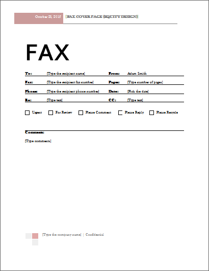 microsoft office fax cover sheet template