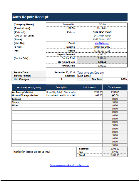 Auto Repair Receipt Template For Excel Word Excel Templates