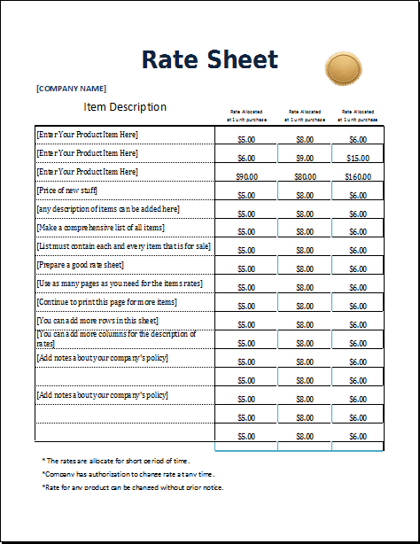 labor rate sheet template pictures official design rate sheet – Sample Rate Sheet