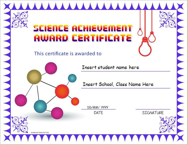 Science Achievement Award Certificates Word Excel Templates