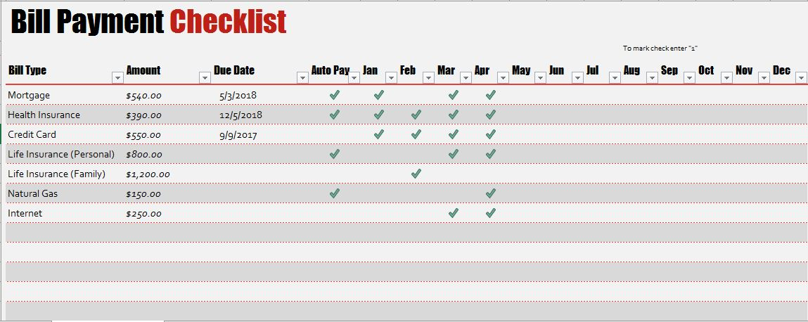 Bill Payment Checklist Templates For MS Excel Word Amp Excel Templates