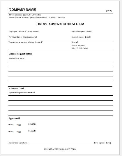 Expense Approval Request Forms Ms Word Word Amp Excel