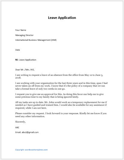 Leave Application For Few Days Off Word Excel Templates