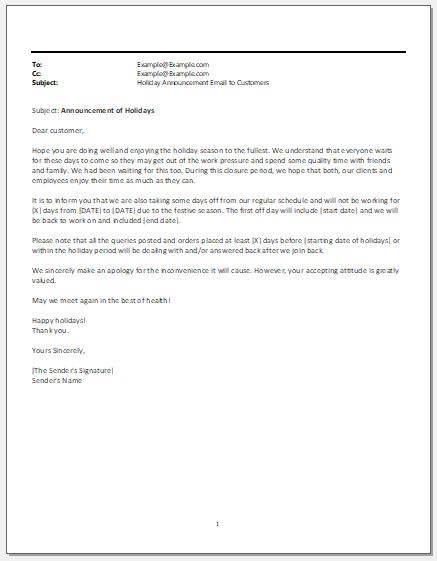 Holiday Announcement Email To Customers Word Excel Templates