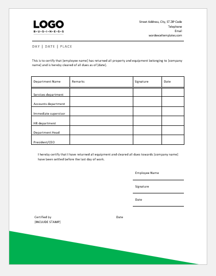 Employee Clearance Certificate Templates Word Excel