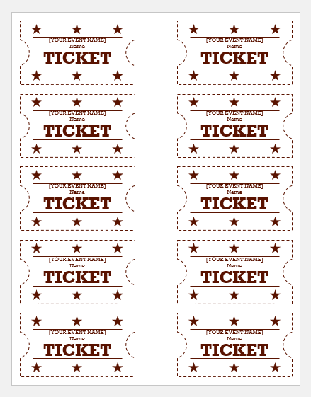 Event Ticket Templates For Ms Word Word Excel Templates